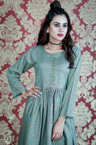 Green Maroon Chunri Printed Dress