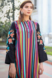 Funk Stripe Linen Kurta with Embroidered Sleeves
