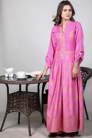 Pink Linen Ethnic Maxi
