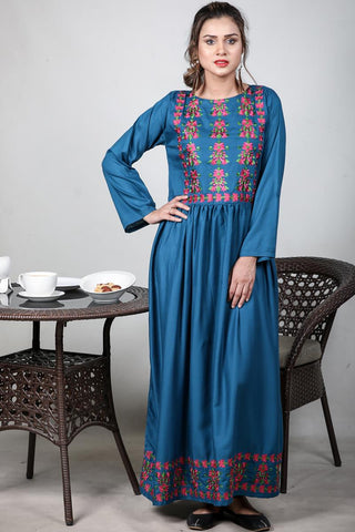 SALE Teal Tiaret Embroidered Maxi