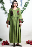 SALE Mehndi Petra Linen Maxi with Aari Embroidery