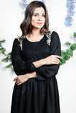 SALE Black Zagazig Aari Embroidered Linen Maxi