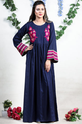Navy Petra Linen Maxi with Aari Embroidery