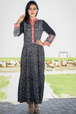 Black Bandhani Tiered Kurta
