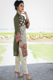 SALE Three Piece: Green Roshanara Linen Kurta with Gold Print Trouser & Scarf