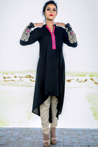 Black Kurta with Zip Front & Embroidered Sleeves