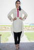 Cream Kurta with Zip Front & Embroidered Sleeves