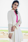 SALE Cream Kurta with Zip Front & Embroidered Sleeves