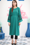 Teal Dress with Embroidered Bell Sleeves