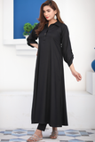Black Basic Collar Maxi