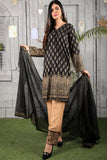 Three Piece: Gold Printed Kurta with Embroidered Trousers and Scarf