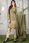 SALE Two Piece: Green Gold Kurta with Self Embossed Scarf