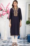 Navy Zawiya Embroidered Linen Kurta