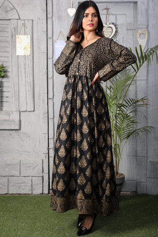 Black Linen Gold Printed Maxi