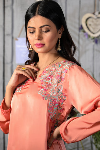 Peach Charmeuse Silk Kurti with Embroidery