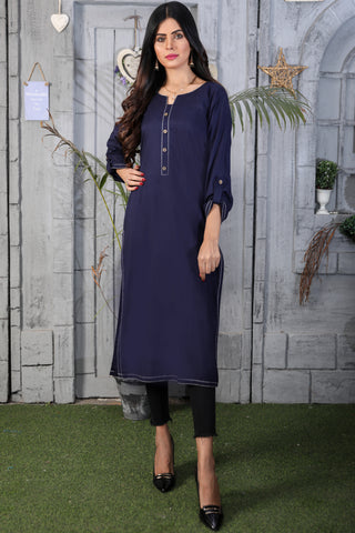 Navy Anchor Linen Kurta