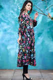 Black Double Pocket Linen Floral Maxi