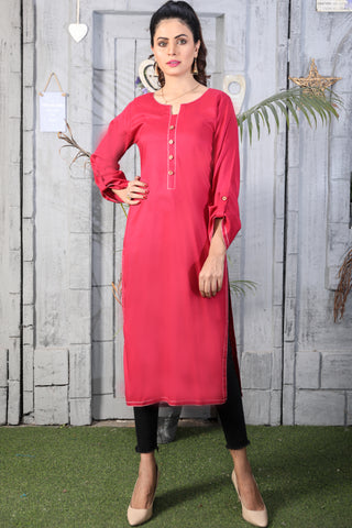 Pomegranate Anchor Linen Kurta