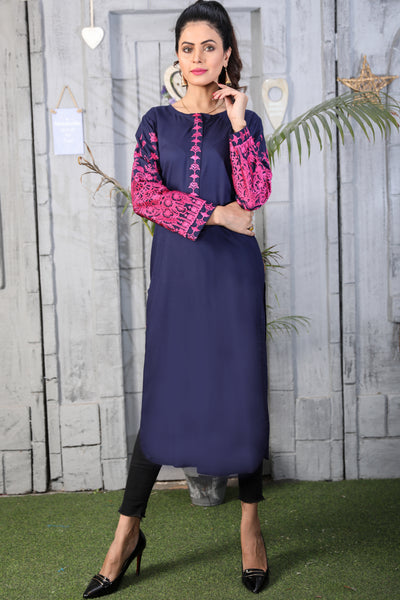 Navy Linen Vertu Embroidered Kurta