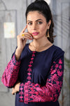SALE Navy Linen Vertu Embroidered Kurta