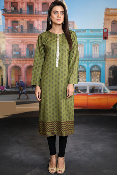 Mehndi Printed Kurta with Goldwork