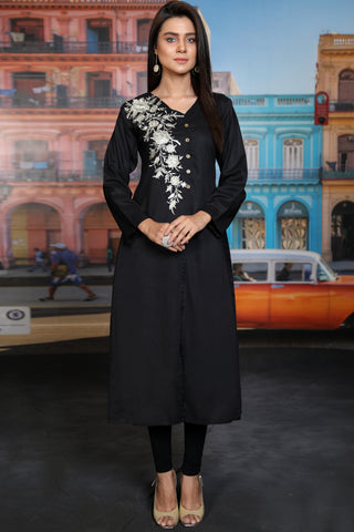 Black Tilla Embroidered Angrakha Front Slit Kurta