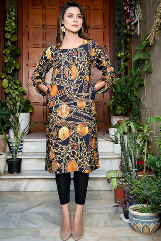 Black Double Pocket Locket Linen Kurta