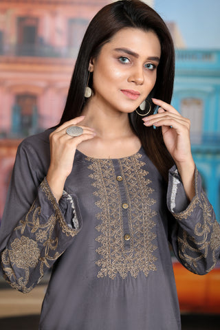 Grey Gold Aari Embroidered Kurta