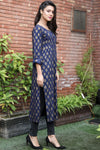 Navy Linen Gold Printed Pleated Kurta