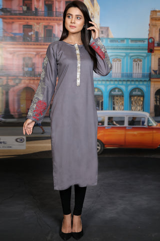 Grey Goldwork Kurta with Embroidered Tilla Sleeves