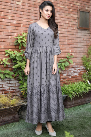 Tiered Grey Printed Maxi