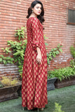 "SALE Gold Printed Maroon Pleated ""Mumtaz"" Maxi"