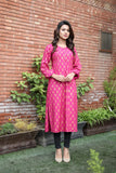 SALE Pink Linen Gold Printed Pleated Kurta