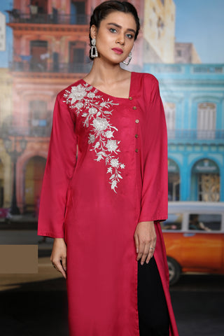 Pomegranate Angrakha Embroidered Linen Kurta