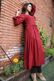 Self Embossed Linen Maroon Dress