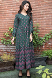 Tiered Bottle Green Printed Maxi