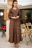 Brown Gold Thebes Printed Maxi
