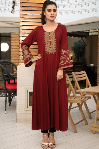 Maroon Gold Tilla Embroidered Maxi