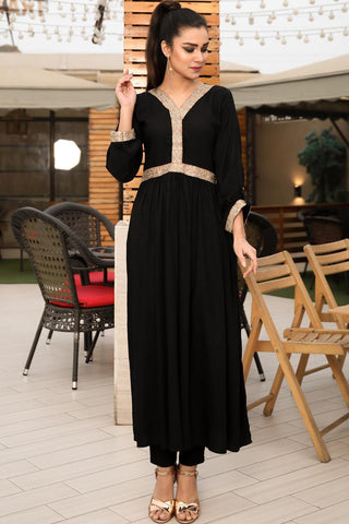 Black Linen Sun Embroidered Border Maxi