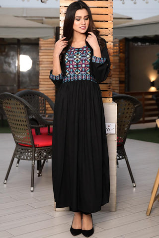 Black Purple Bouquet Embroidered Maxi