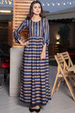 Navy Gold Thebes Printed Maxi