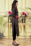 Black Rust Printed Kurta with Red Chikan Sleeves