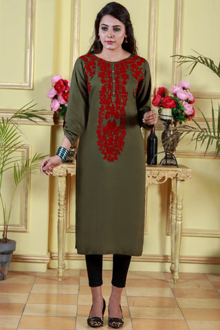 Green Kurta with Maroon Aari Work