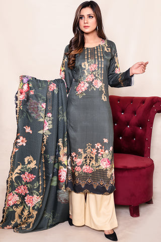 Two Piece: Bottle Green Grace Linen Kurta & Dupatta