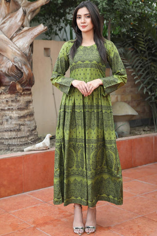 "Mehndi Green ""Iwan"" Linen Dress"
