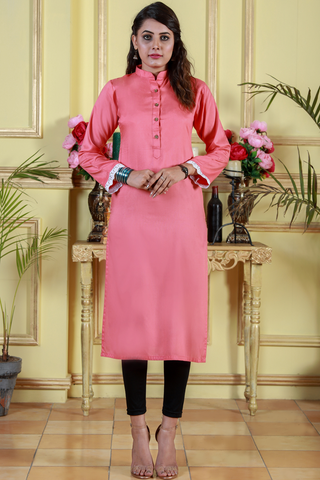 Peach Kurta with Chikan Sleeves