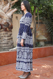"Navy White Printed ""Iwan"" Linen Dress"