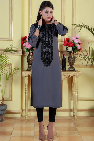 Grey Kurta with Black Aari Work