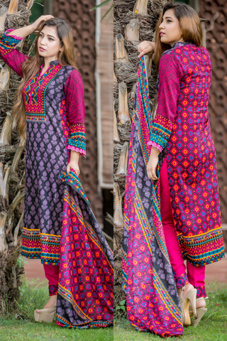 SALE Three Piece: Black Pink Fuzon Kurti with Trousers & Scarf