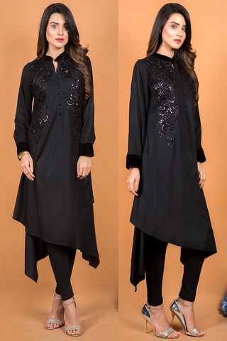 Black Linen Kurta with Sequin & Thread Embroidery